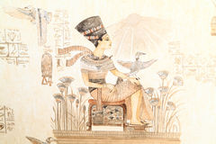 Patterned wallpaper with Pharaoh on the throne Royalty Free Stock Photos