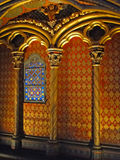 Patterned walls and stained glass window Royalty Free Stock Photos