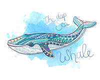 Patterned whale on grunge background