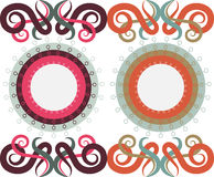 Patterns. Of circles and monograms, two color options Royalty Free Stock Images