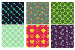 Patterns. Set of 6 seamless floral and diamond patterns Royalty Free Stock Image