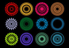 Patterns. Base-line patterns of round form on a black background Stock Photo