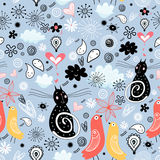 Patterns with black cats Royalty Free Stock Photo