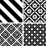 Patterns. Black and white seamless patterns set Royalty Free Stock Images