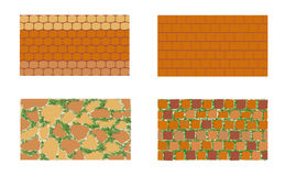 The patterns of brickwork with green grass on white background . Stock Images