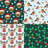Patterns with bullfinches, Holly, dogs, deers. Vector illustration. Collection of seamless christmas patterns. Patterns with bullfinches, Holly, dogs, deers vector illustration