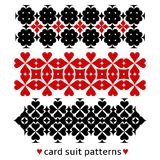 Patterns with card suits Stock Images