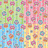 Patterns of cartoon owls Stock Photo