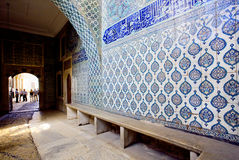 Patterns on ceramic tiled walls inside the royal palace of famous Topkapi palace, Turkey Stock Photos