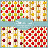 Patterns with christmas balls. Seamless backgrounds. Vector set. Stock Photos