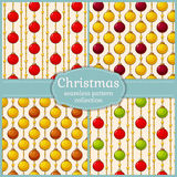 Patterns with christmas balls. Seamless backgrounds. Vector set. Royalty Free Stock Photography