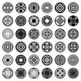 Patterns in circle shape. Design elements. Patterns in circle shape. 36 design elements. Set 2. Vector art Royalty Free Stock Photo