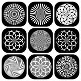 Patterns in circle shape. Design elements set. Stock Photography