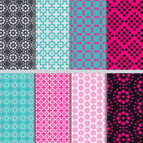Patterns of circles. Eight seamless patterns composed of circles Stock Images