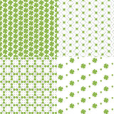 Patterns with clover. Four seamless pattern with clover small Stock Photography