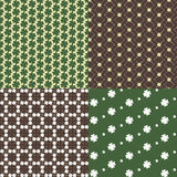 Patterns with clover. Four seamless pattern with clover small Stock Photo