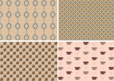 Patterns in coffee concept. 4 different patterns within a concept of delicious coffee Stock Photography
