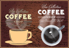 Patterns of coffee with inscriptions on background with texture of wood Stock Photo
