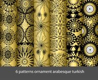 6 patterns collection arabesque turkish stock illustration