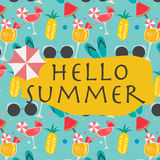 Patterns colorful design with hello summer concept. Vector EPS of patterns colorful design with hello summer concept Royalty Free Stock Images