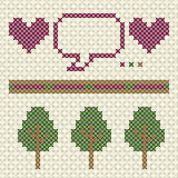 Patterns in cross stitch Royalty Free Stock Photos