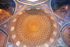 Patterns of the dome and central hall of the Sheikh Lotfollah Mosque in persian style Royalty Free Stock Photo