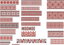 Patterns for Embroidery Stitch, Red and Black. Set of Ukrainian ethnic patterns for embroidery stitch in red and black Royalty Free Stock Photo