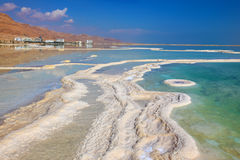 The patterns evaporated salt in the Dead Sea Stock Image