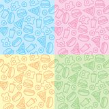 Patterns with fast food vector illustration