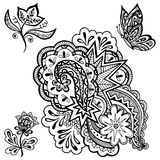 Patterns, Flowers and Butterfly Contours. Set of Vintage Calligraphic Patterns, Symbolic Flowers, Butterfly and Abstract Ornament, Black Contours  On White Stock Photos