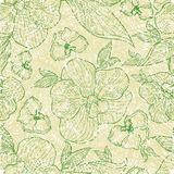 Patterns with flowers and leafs. Vector seamless floral grunge patterns with orchid flowers and leafs Stock Images