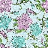 Patterns with flowers and leafs. Vector seamless floral grunge patterns with flowers and leafs Stock Photos