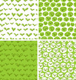 Patterns with fresh green leaves. Set of 4 seamless patterns in swatches with fresh green doodle leaves stock illustration
