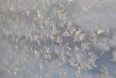 The patterns on a frozen glass. Icicles on glass, hoarfrost, ice crystals royalty free stock photography