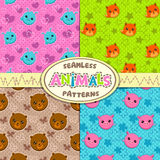 Patterns with funny animal faces. Set of cute seamless patterns with funny animal faces Stock Photo