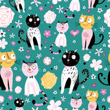 Patterns of funny cats Royalty Free Stock Photo