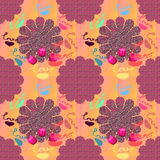 Patterns with geometric shapes multicolored tulips celebratory d Stock Photos