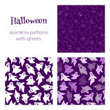 3 patterns with ghosts. Set of vector seamless patterns with funny ghosts. Perfect backgrounds for your Halloween design Stock Images