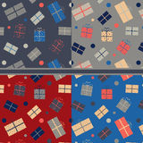 Patterns with gift boxes. Four seamless pattern with gift boxes Stock Images