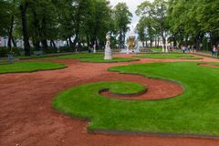 Patterns from grass. SAINT PETERSBURG, RUSSIA - AUGUST 18, 2017: Grand Parterre in the Summer garden. This park is one of the oldest in Saint Petersburg, it was Royalty Free Stock Images