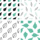 Patterns with green and black leaves Royalty Free Stock Photography