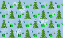 Patterns green Christmas tree and a box of gift. Royalty Free Stock Photos