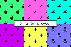 Patterns for Halloween. Collection of simple patterns for Halloween Royalty Free Stock Photos
