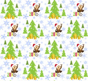 Patterns happy monkey 2016, Christmas tree and lots of snowflake Stock Photography