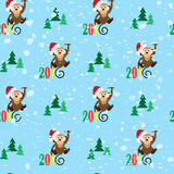 Patterns happy monkey 2016 and the tree. Vector illustration Stock Images