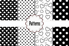Patterns Hearts and Dots Plaid Royalty Free Stock Images