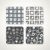 Patterns with icons set Royalty Free Stock Photography