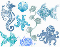 Patterns mamarine inhabitants . starfish fish octopus  seahorse shell snail sea Stock Images