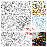 Patterns of musical instruments and music notes Royalty Free Stock Photos