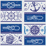 Patterns with Nautical symbols and  marine knots Royalty Free Stock Images